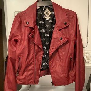 Volcom Faux Leather Burgundy Jacket